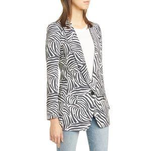 NWT Smythe Zebra Print Long Blazer Jacket